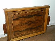ancien PLATEAU en BOIS marqueterie VINTAGE Wooden Serving Tray Holz-Tablett