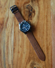 Horween Brown Chromexcel Horse Leather Watch Strap Band 22mm for Seiko SNDA PVD