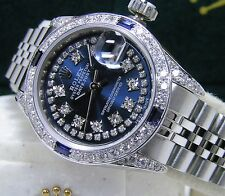Steel 18kt White Gold Ladies Rolex Complete w-Papers DateJust Blue Diamond Dial