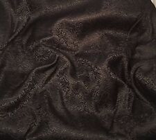 Silk BROCADE Fabric BLACK SCROLL -By The Yard-