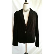 TALBOTS Size 14P Black Velvet Blazer Jacket Kate Fit NWT