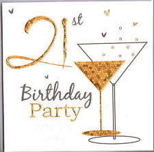 Pack Of Six 21st Birthday Party Invitations Gold Champagne Glass.