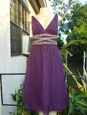MONIQUE LHUILLIER PURPLE LAYERED TULLE MESH RHINESTONE DETAIL DRESS Sz 8 NWT