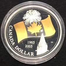 2005 Proof .999 Silver Dollar with Flag Design - Gold Plated in Capsule