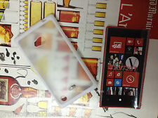 White Rubber Bumper Transparent Solid Back Case Cover for Nokia Lumia 720