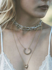 Bohemian Vintage Gold Crescent Multi Layers Choker Necklace Jewelry Accessory