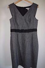 NEW Banana Republic Womens Black Tweed V-neck Sheath Shift Ribbon Dress 8 $150