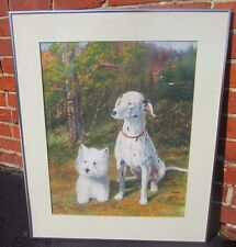 DOG PAINTING ORIGINAL SIGNED W/C ON PAPER ABSOLUTELY CUTE BELLEVUE, KY ESTATE