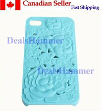 3D Sculpture Design Rose Flower Hard Plastic Cover Case For iPhone 4 4S BLUE
