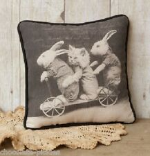 BUNNY RABBITS KITTEN CAT & Wagon Cart*PILLOW*Primitive Friend Gift~New!