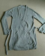 FAB KOOKAI BROWN GREY WOOL MIX THIGH LENGTH CARDI CARDIGAN LONG SLEEVES SIZE 12