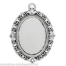10PCS Wholesale Lots Silver Tone Oval Cameo Frame Setting Pendants 39x29mm GW