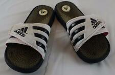 ADIDAS Black White size 7 W FLIP FLOPS -  WELL WORN / WELL USED