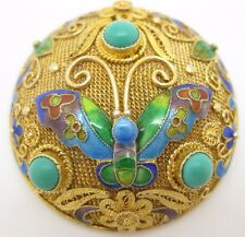China Gilt Silver ~ BUTTERFLY TURQUOISE ENAMEL BROOCH ~ Gold Sterling Pin