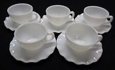 5 HAZEL ATLAS OPAL Crinoline Ruffle REGULAR WHITE CUP & SAUCER SETS 12 pc Minty