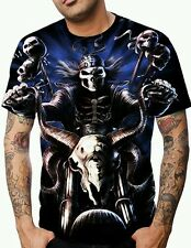 BIKERS ALLOVER PRINT MULTI COLOR GRAPHIC MOTORCYCLE SKULL T-SHIRT! RIDE OR DIE!