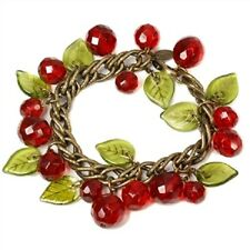 NEW SWEET ROMANCE RETRO STYLE CHERRIES JUBILEE CRYSTAL CHARM BRACELET