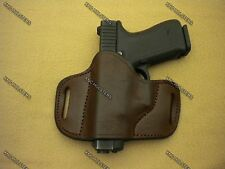 Glock,S&W,Taurus.... Belt Slide Cross Draw Leather Holster Left Hand Brown Large