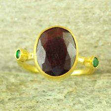 Handmade Ancient Turkish Jewelry Ruby & Emerald Ring Gold Over Sterling Silver