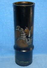 BRASS BAMBOO ASIAN VASE WITH ETCHED MOUNTAIN PAGODA SCENE BLACK DESIGN