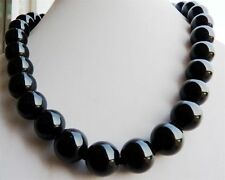 10mm Black Agate Onyx Gemstone Round Necklace 18''AA