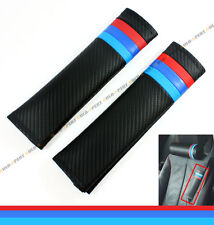 M TECH M COLORWAY BLUE RED CARBON FIBER LEATHER SEATBELT SHOULDER PADS COVER X 2