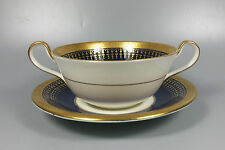 AYNSLEY HERTFORD COBALT 7081 CREAM SOUP COUPE / CUP AND SAUCER (PERFECT)