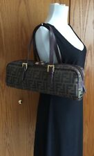 FENDI Purse Authentic Tobacco FF Zucca Signature Canvas Baguette / Barrel
