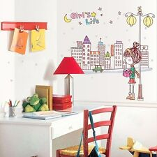 LITTLE GIRL LAMPPOST ROOM NEW WALL ART STICKERS DIY VINYL DECOR HOME DECORATION