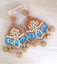 NWT Kenneth Jay Lane Couture Wood Beaded Earrings Post