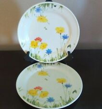 Mikasa Ultra Ceram Bone China Uptown 2 Dinner Plates White, Yellow & Blue Flower