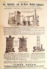 Vintage Advertisement 1882 GAS, HYDRAULIC, HOT WATER HEAT Engineers matted 8x10""