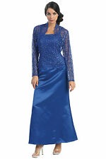 Modest Elegant Long Royal Blue Mother of the Bride Dress Formal