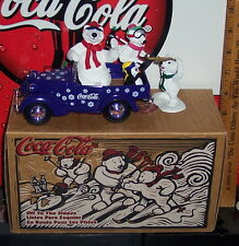 COCA - COLA BRAND HEAVY DUTY METAL DIE CAST CAR W FIGURINE OFF TO THE SLOPES