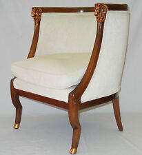 CARVED RAM HEAD GOLD DETAIL BARREL LOUNGE ARM CHAIR STYLE of  MONTEVERDI YOUNG