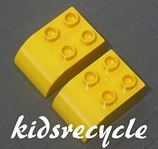 Lego DUPLO Yellow 2x3 Curved Bricks BLOCKS (2 pieces) Part 2302 (Pickup Welcome)
