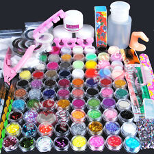 Pro 78 Color Acrylic powder Glitter Nail Art Pump Tips Stickers Files Tool Kits