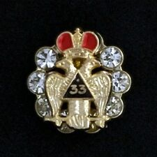 Masonic Scottish Rite 33rd Degree with Crystals Lapel Pin (33EG-3CR)