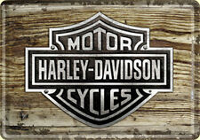 Harley Davidson Wood look metal postcard / mini-sign  (na)