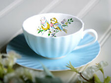 Katie Alice Bird canción Shabby Chic Azul Fine China Copa Y PLATILLO