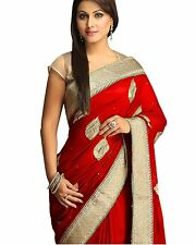 Top Selling H_Morali Red Designer Party/Wedding Wear Ethnic fancy Saree/Sari