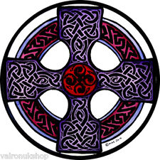 STAINED GLASS WINDOW ART - STATIC CLING  DECORATION -CELTIC CROSS IN MAUVE