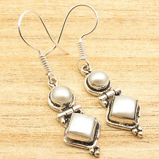 Earrings 1 3/4 inches ! 2 PEARL GIRL'S Sterling Silver Plated Handmade Jewelry