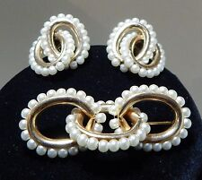 Antique NAPIER Joined Rings Gold & Pearl Demi-Parure Brooch & Earrings Set