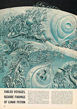 1950's Big Original Vintage BORIS ARTZYBASHEFF Space Fantasy Art Print ARTICLE