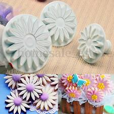 3pcs Fondant Cake Decorating Sunflower Sugarcraft Plunger Cutter Mold Mould Set