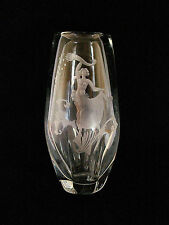 Art Deco Orrefors Nude Engraved Glass Vase Sweden
