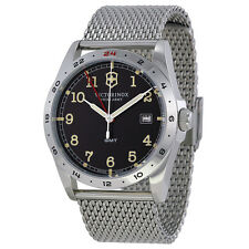 Victorinox Infantry GMT Black Dial Stainless Steel Bracelet Mens Watch 241649