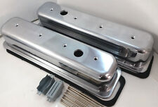 Polished Smooth Tall SB Chevy Center Bolt Valve Covers W/ Gaskets 87-99 305 350