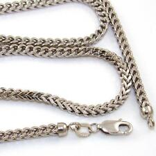 "Solid 14K White Gold Franco Spiga Foxtail Box Chain Link Necklace 22"" 2.5mm"